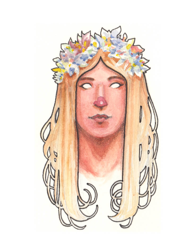 Art Nouveau style woman with blonde hair